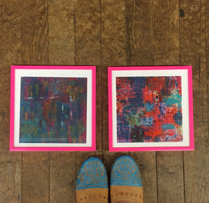 "Abstract Color Love 10""x10"" Archival Giclee Print with Pink Metal Frame"