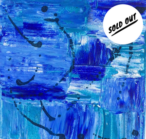 "SOLD OUT  $125 Blue Bliss 8""x8"" Abstract Painting on Canvas"
