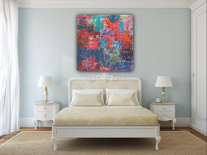 "SOLD OUT $850 Color Love 24""x24"" Painting on Canvas with Honey Maple Floater Frame"