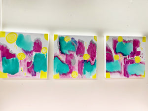 "Triptych ""Merry Go Round #1"" 12""x12"" Original Ink/Acrylic on Canvas"