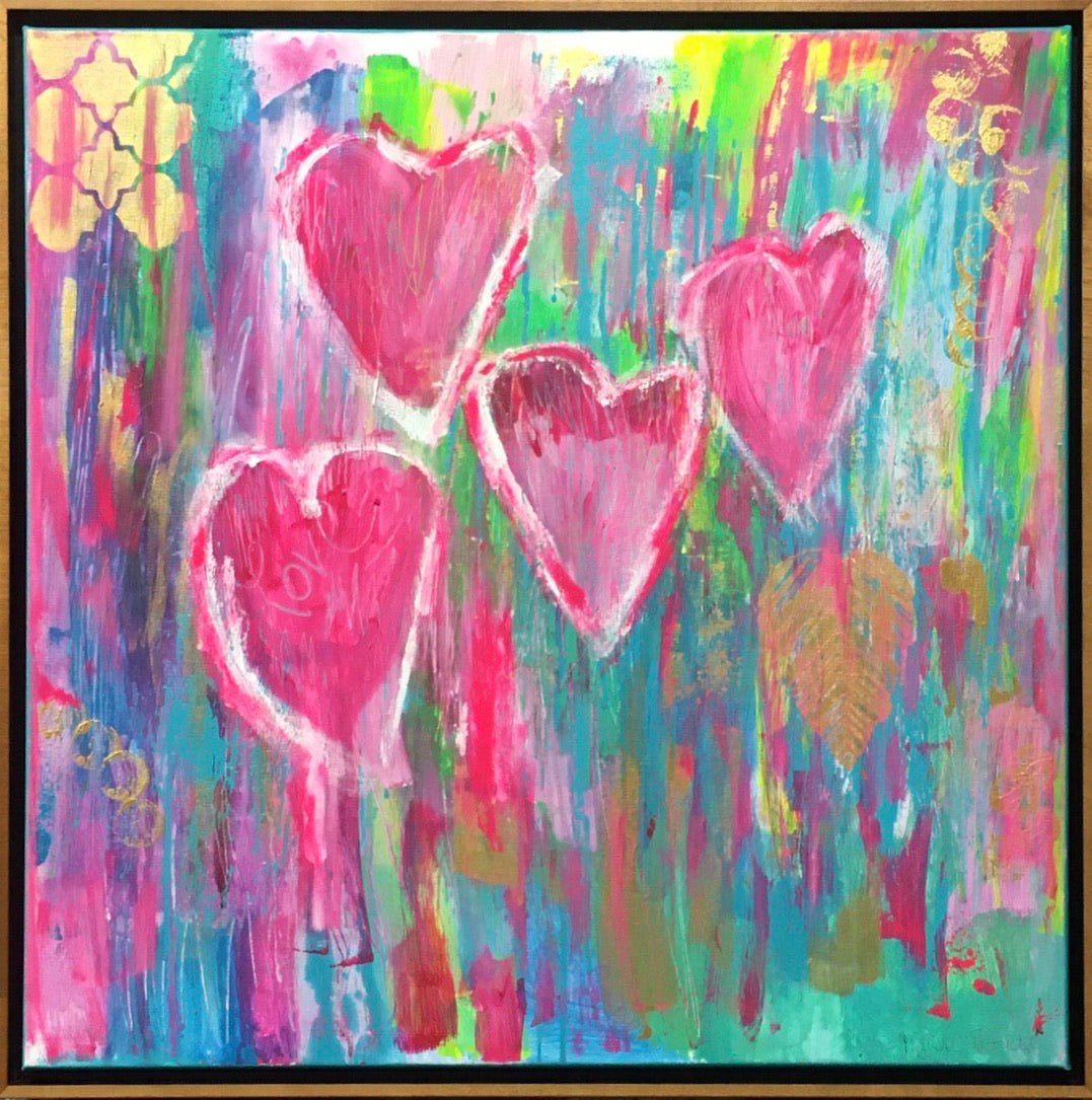 "Love is Love 24""x24"" Original Painting on Canvas with Honey Maple Frame (Total $850)"
