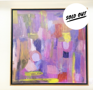 SOLD OUT $850 PURPLE EGGPLANT Original Painting with Honey Maple Floater Frame