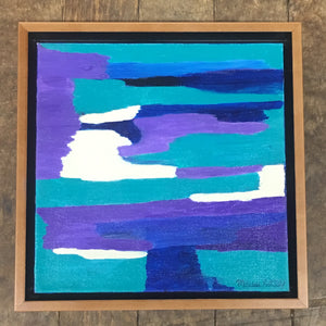 "Down the River #3  12""x12"" Original Painting on Canvas with Honey Maple Floater Frame"