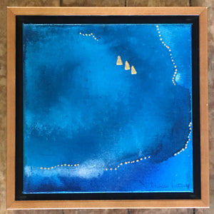 "SOLD OUT $225 Ocean Series #2~8""x8"" Original Painting with Honey Maple Frame"