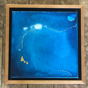 "Ocean Series #1~8""x8"" Original Painting with Honey Maple Frame"