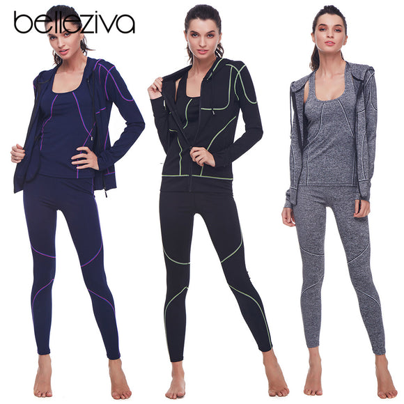 Belleziva Winter Women Hoodie Sport Suits 3 PCS Fitness Yoga Set