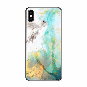 Luxury Marble Phone Case for iPhone X Xs Max Glass PC pigeon Back Cover Silicone Soft Edge Coque Case for iPhone XS Max XR Case - Heart Entrepreneurs