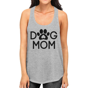 Dog Mom Women's Grey Cute Dog Paw Graphic Tank Top for Dog Lovers - Heart Entrepreneurs