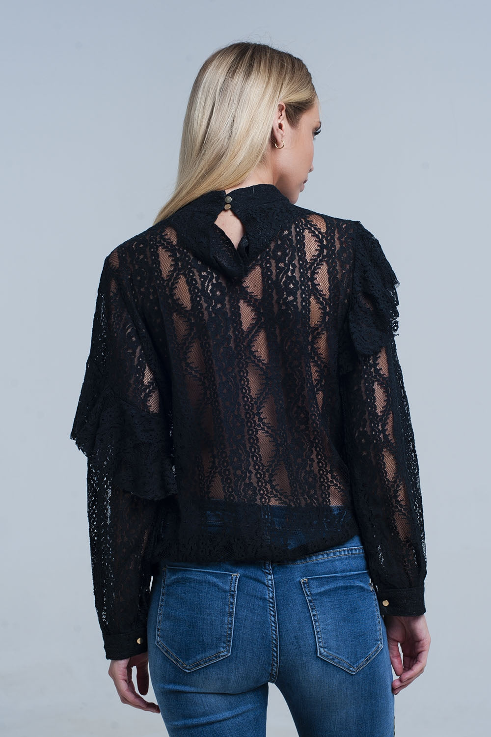 Black Lacy Shirt and Ruffles - Heart Entrepreneurs