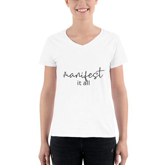 Manifest It All Casual V-Neck Shirt - Heart Entrepreneurs