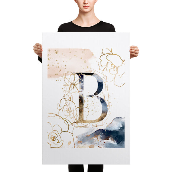 Heartstormer Canvas Print Gold Floral Blue Letter B - Heart Entrepreneurs