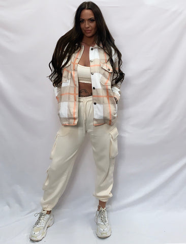 Pretty In Check Beige Shacket