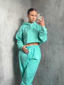 Basic Cropped Hooded Tracksuit Mint