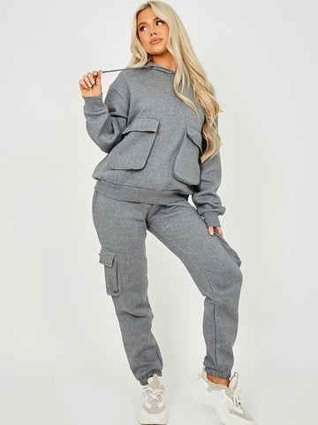 Basic Cargo Hooded Tracksuit Dark Grey