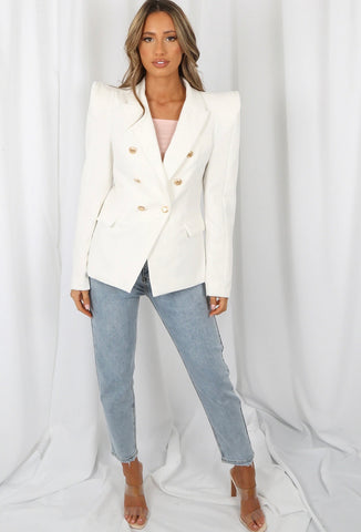 White Puff Shoulder Blazer