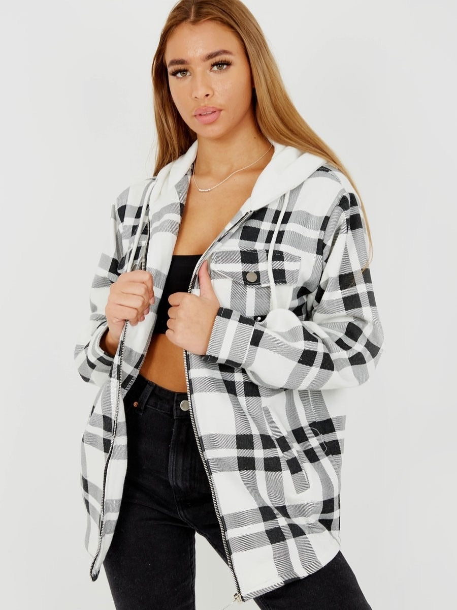 Hooded Checked Black/White Shacket