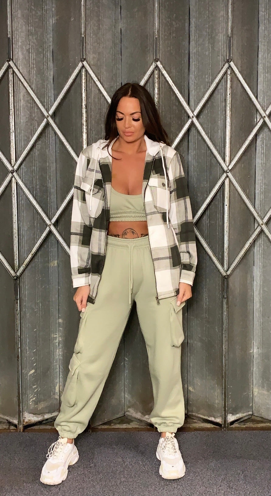 Pretty In Check Hooded Green Shacket