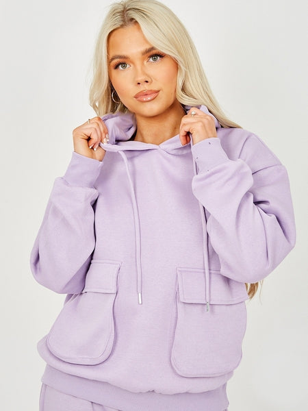 Basic Cargo Hooded Tracksuit Lilac