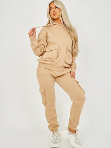 Basic Cargo Hooded Tracksuit Nude