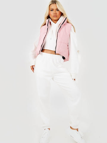 Padded Cropped Gilet Pink