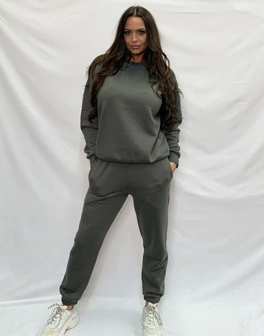 Basic Sweatshirt Tracksuit Charcoal