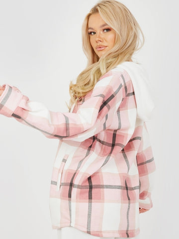 Pretty In Check Hooded Pink Shacket