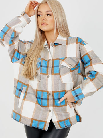 Pretty In Check Blue Shacket