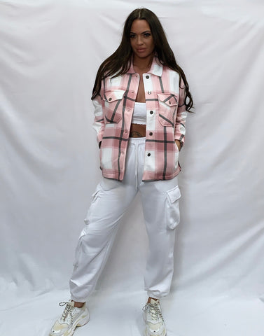 Pretty In Check Pink Shacket