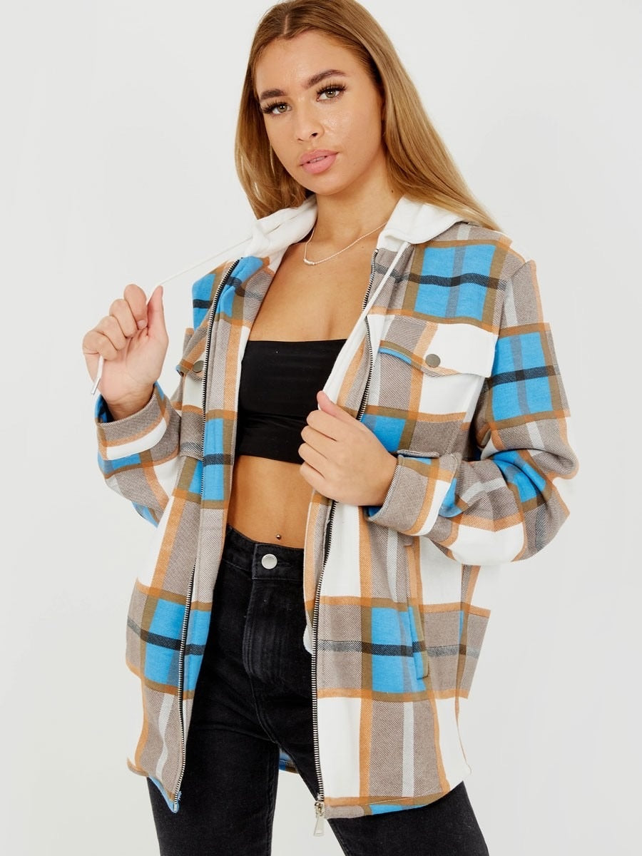 Pretty In Check Hooded Blue Shacket