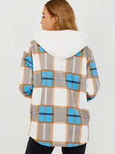 Load image into Gallery viewer, Pretty In Check Hooded Blue Shacket