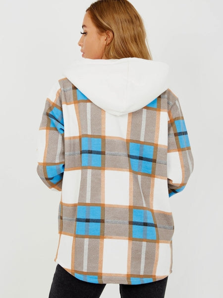 Hooded Checked Blue Shacket
