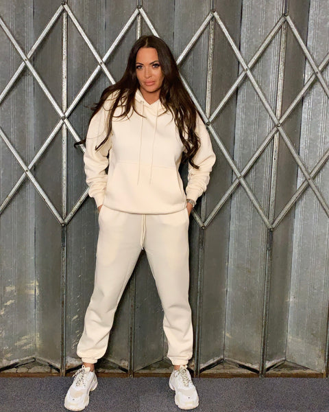 Basic Hooded Tracksuit Cream