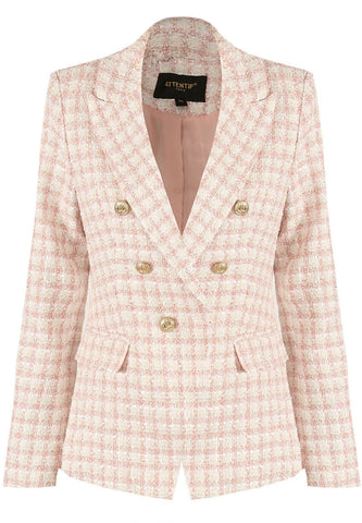 Dogtooth Tweed Military Blazer Pink