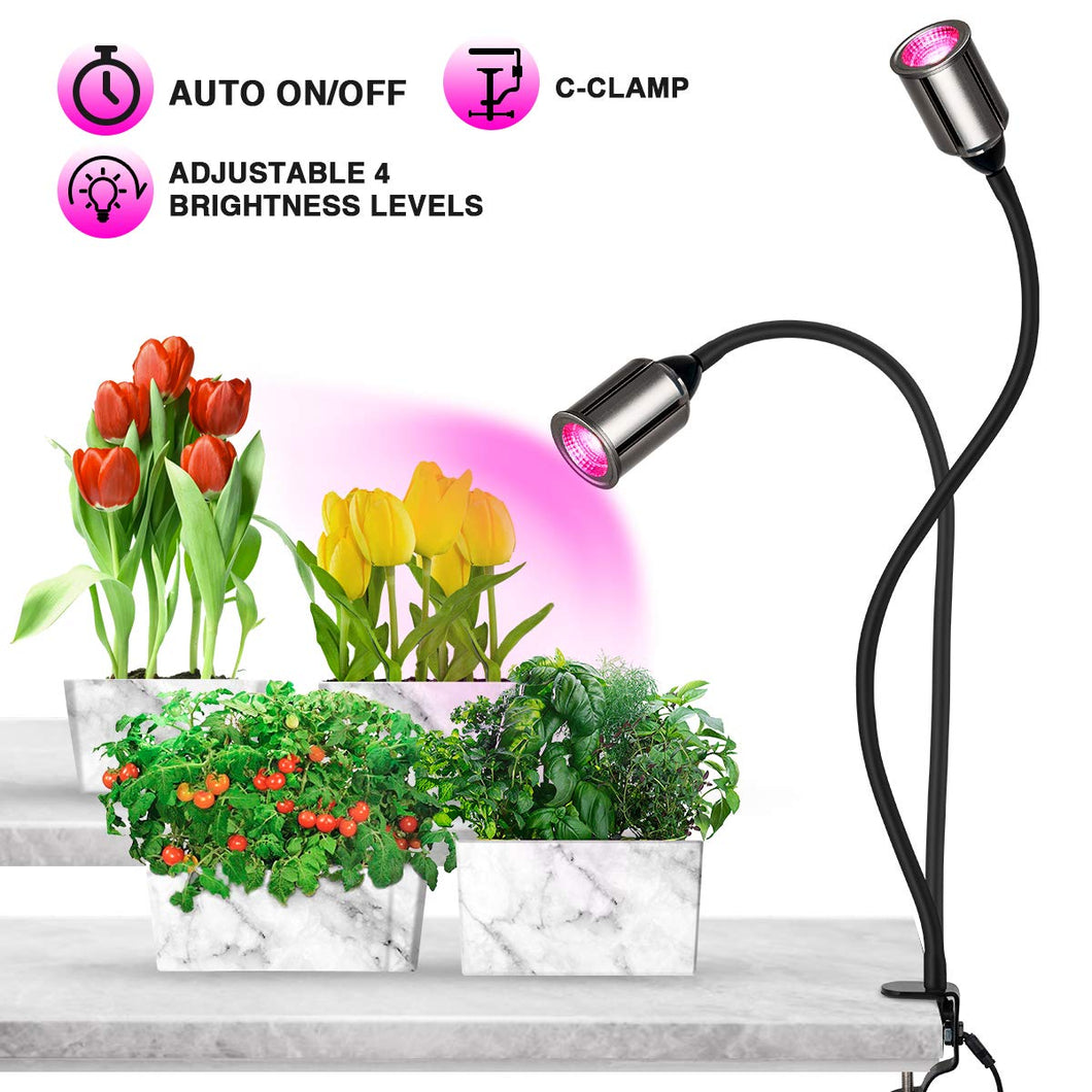 Bozily 75W Full Spectrum LED Plant Light 3/6/12/24H Timing 5 Dimmable Levels