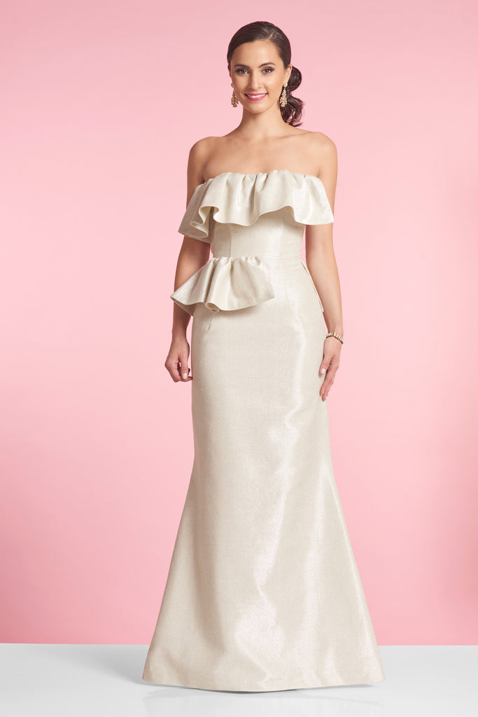 LOTTIE gown - Metallic Cream Faille