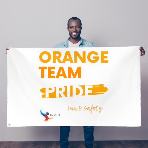 Orange Team Pride Sublimation Flag