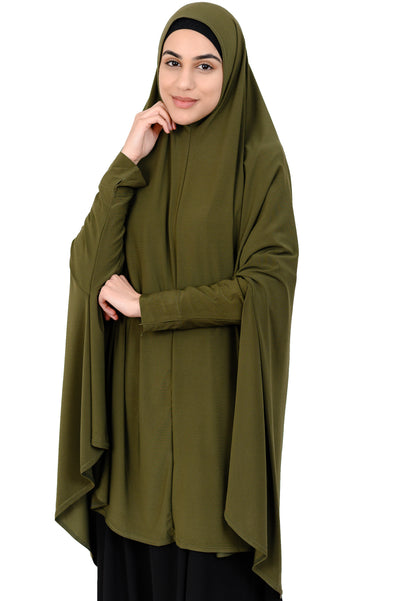 Standard Length Sleeved Jelbab in Dark Khaki