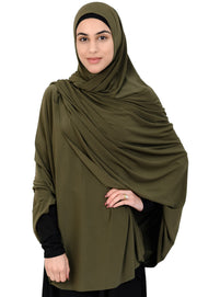 Standard Length Open Jelbab in    Dark Khaki