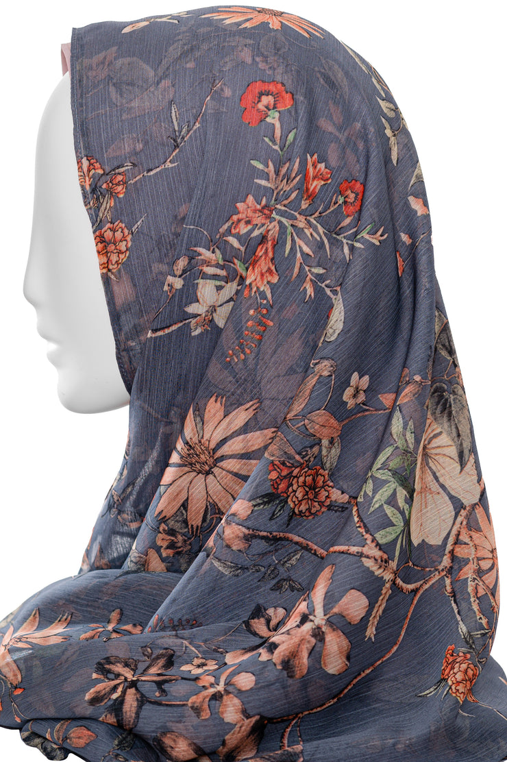 Printed  Scarf in Grey