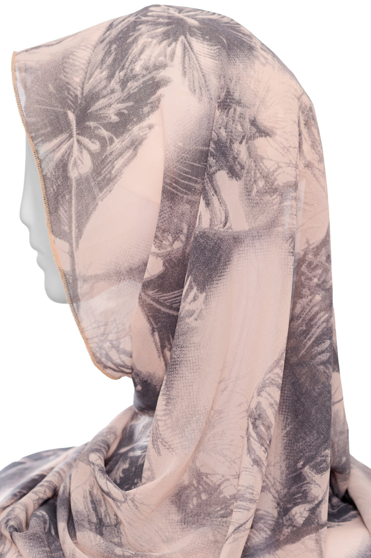 Printed  Scarf Peach/Grey