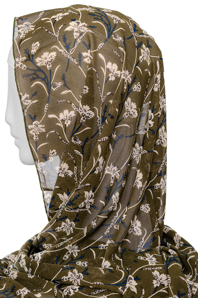 Printed  Scarf in Khaki