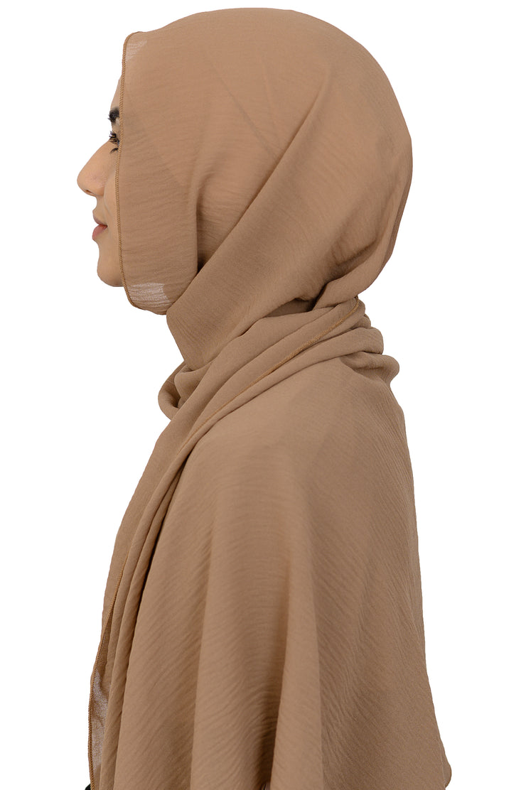 Crinkled Scarf in Warm Tan
