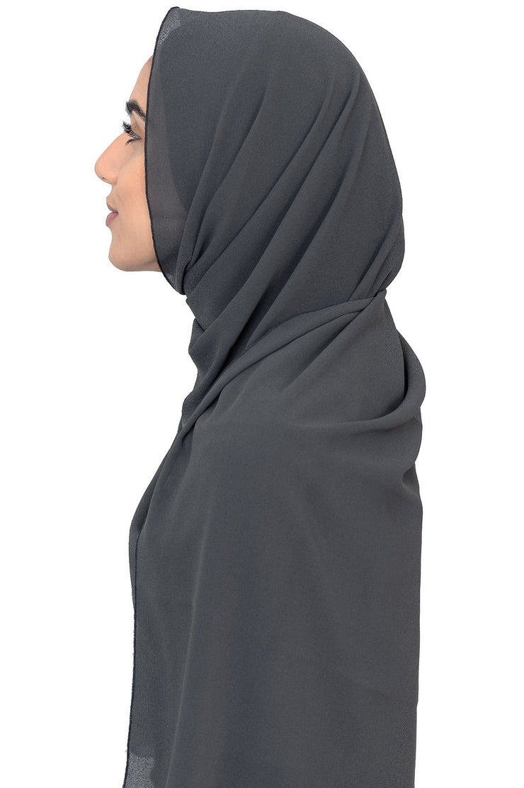 Chiffon Scarf in Charcoal