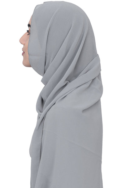 Chiffon Scarf in Silver Grey