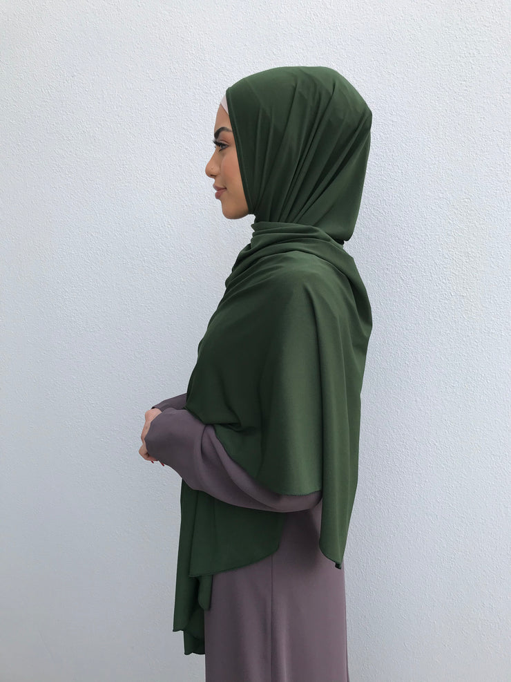 Standard Jersey Jelbab in Dark Green