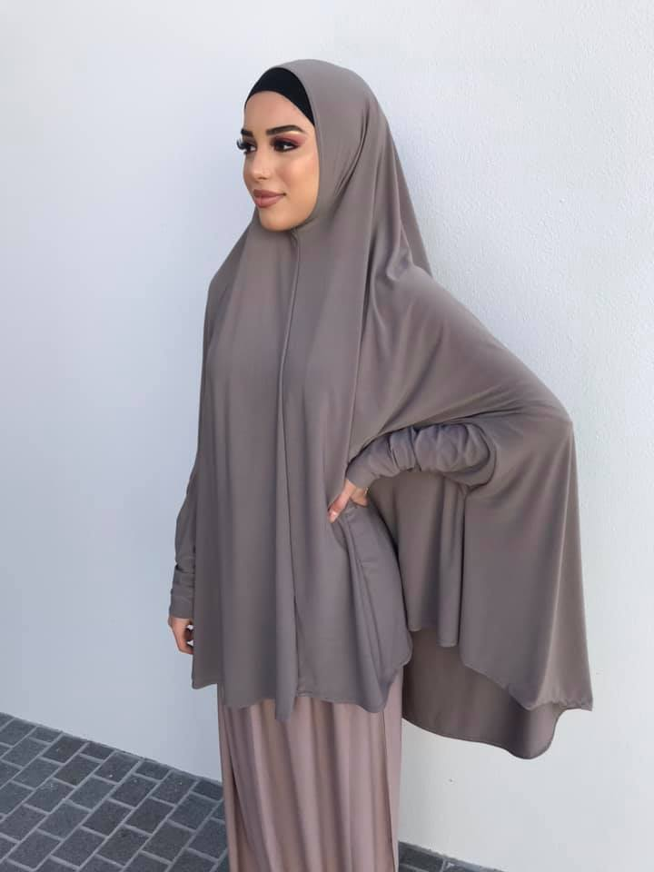 Standard Length Sleeved Jelbab in Ash Grey