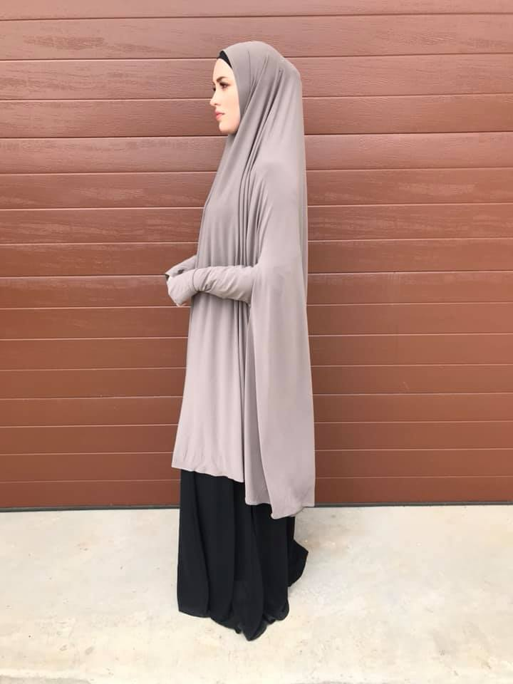 Xlong Sleeved Jelbab in Ash Grey