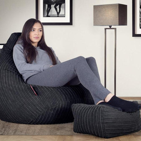 Lady sat on gaming high back bean bags from Big Bertha Original.