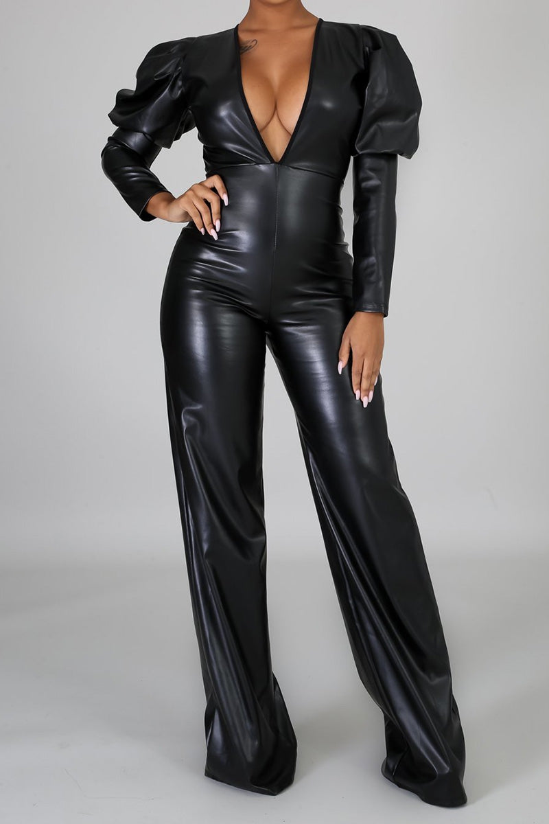 Leather V-neck Jumpsuit