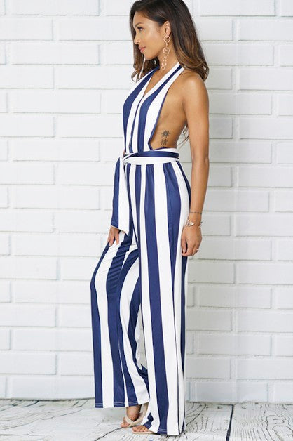 Silk Stripe Jumpsuit